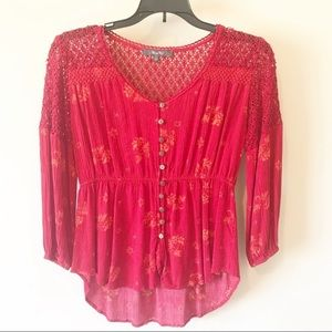 Miss Me Crocheted Red Boho Blouse Size Small